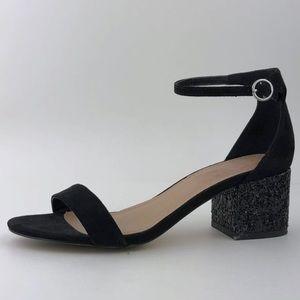 Aldo Faux Suede Low Heel Sandals in Black Size 6